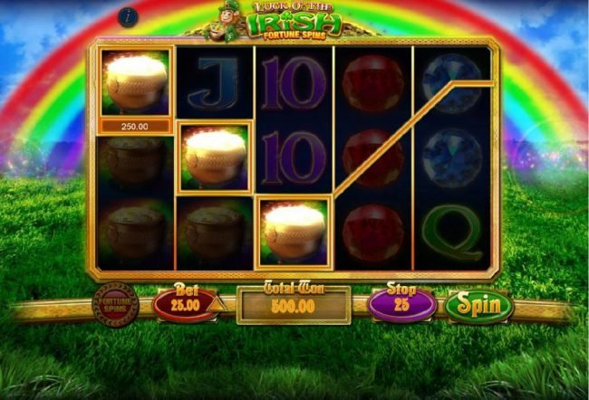 Luck O' The Irish Fortune Spins :: Multiple winning paylines triggers a 500.00 big win!