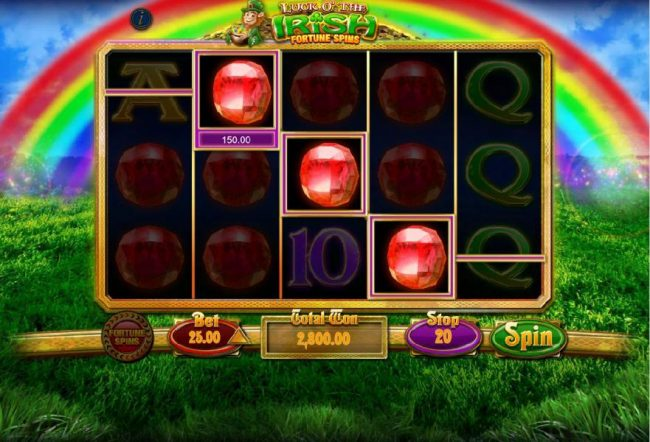 Luck O' The Irish Fortune Spins :: A 2,800.00 jackpot triggered by multiple winning paylines.