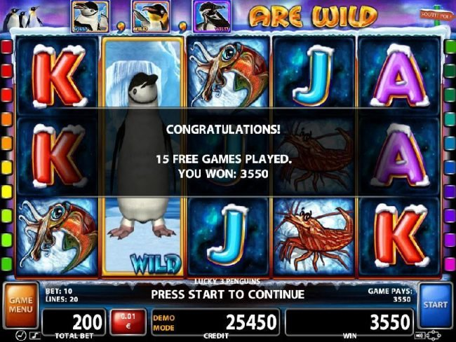 After completeing 15 free spins, a total of 3550 credits was paid out.