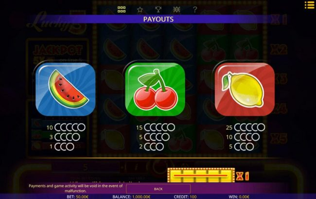 Wild Jackpots featuring the Video Slots Lucky 3 with a maximum payout of $5,000