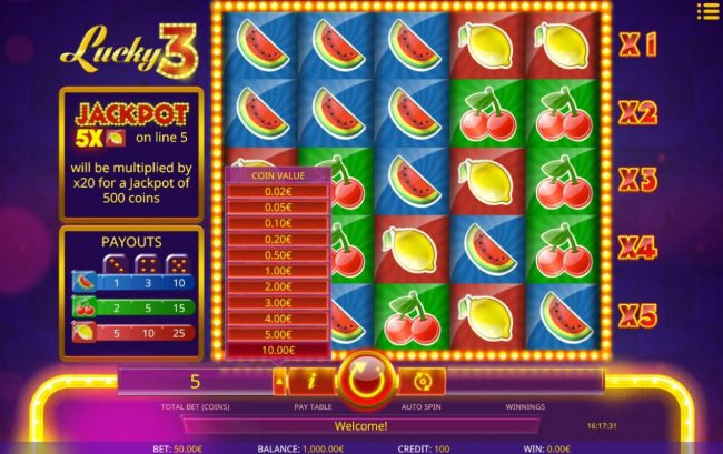 Play slots at Casdep: Casdep featuring the Video Slots Lucky 3 with a maximum payout of $5,000