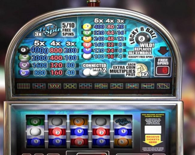 Elegant VIP featuring the Video Slots Lucky 8 Ball with a maximum payout of $20,000