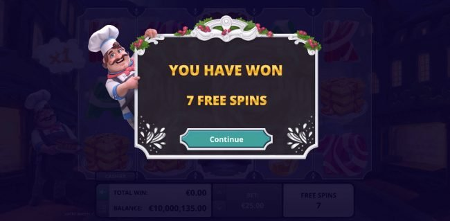 7 Free Spins Awarded