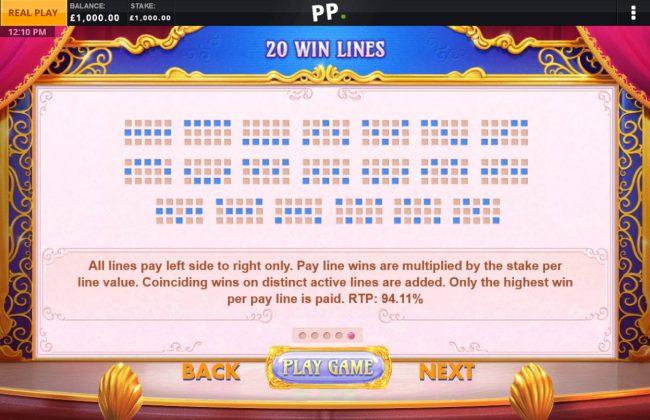 Paylines 1-20