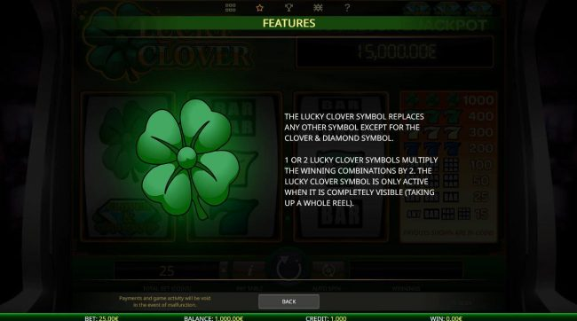 Betive featuring the Video Slots Lucky Clover with a maximum payout of Jackpot