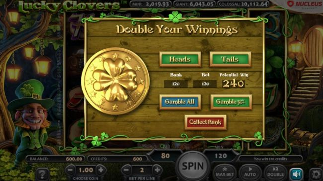 Lucky Clovers :: Gamble Feature Game Board