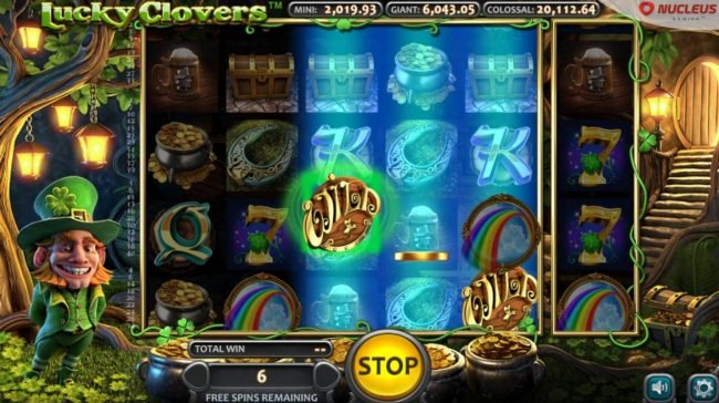 Lucky Clovers :: Extra wild symbols being added to the reels during the Pot of Gold bonus feature