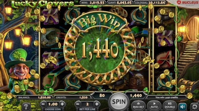 Lucky Clovers :: Total Free Games Payout 1440 Coins