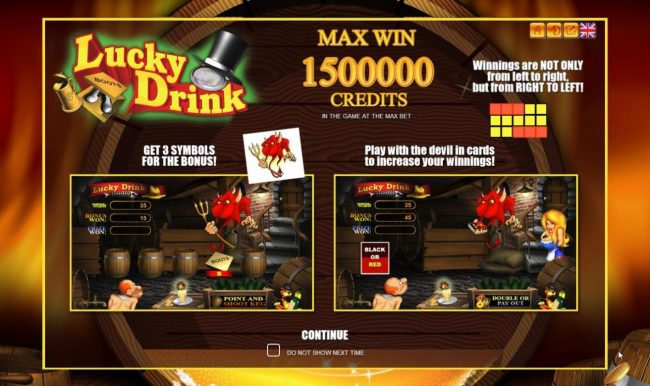 Play slots at Golden Crown: Golden Crown featuring the Video Slots Lucky Drink with a maximum payout of $1,500,000