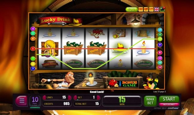 Play 24 Bet featuring the Video Slots Lucky Drink with a maximum payout of $1,500,000
