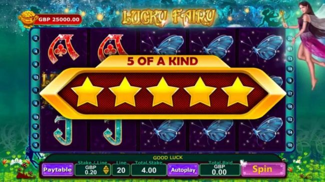 Spin Hill featuring the Video Slots Lucky Fairy with a maximum payout of Jackpot