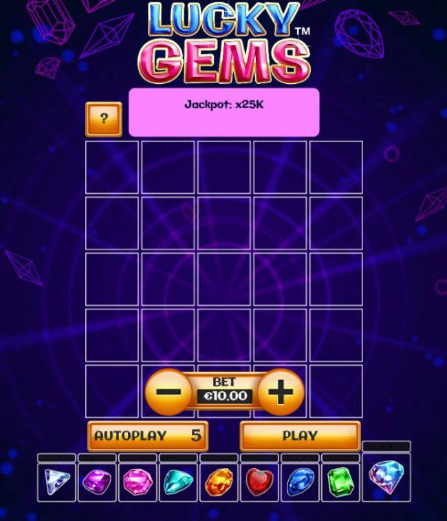 Bet At Casino featuring the Video Slots Lucky Gems with a maximum payout of $25,000