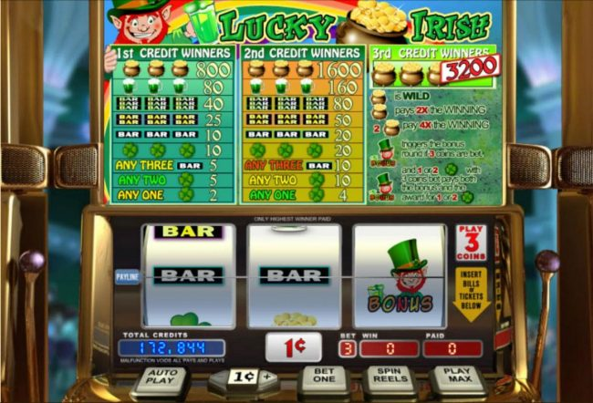 Lincoln featuring the Video Slots Lucky Irish with a maximum payout of $32,000