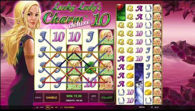 Company featuring the Video Slots Lucky Lady's Charm Deluxe 10 with a maximum payout of $40,000