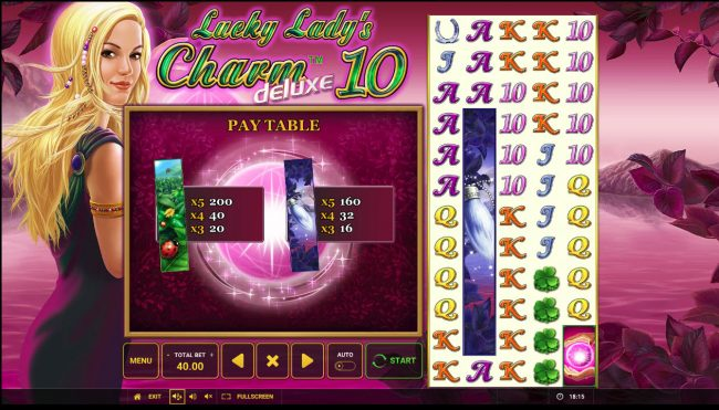 Winner Million featuring the Video Slots Lucky Lady's Charm Deluxe 10 with a maximum payout of $40,000