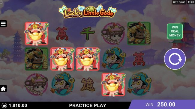 Virtual City featuring the Video Slots Lucky Little Gods with a maximum payout of $130,000