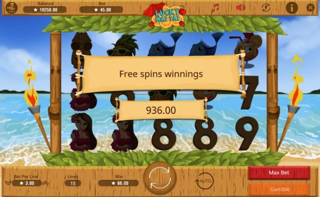 Lucky Mai Tai :: Total free spins payout 936 credits