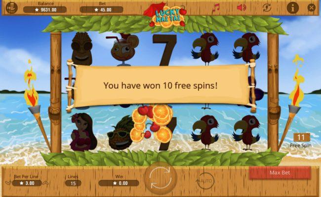 Lucky Mai Tai :: 10 free spins award