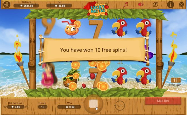 Lucky Mai Tai :: Free spins can be re-triggered during the free spins feature