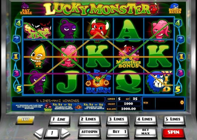 Play slots at Abo Casino: Abo Casino featuring the Video Slots Lucky Monster with a maximum payout of $45,000