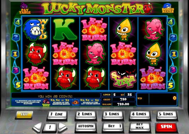 Videoslots featuring the Video Slots Lucky Monster with a maximum payout of $45,000