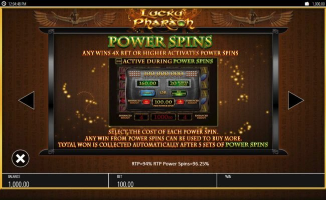 Sun Play featuring the Video Slots Lucky Pharaoh with a maximum payout of $250,000