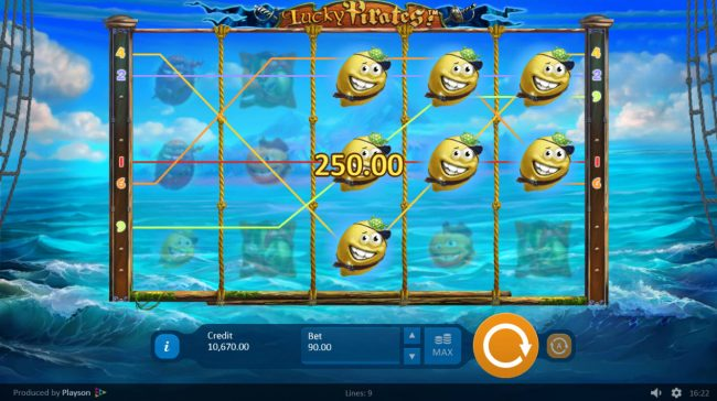 Spintropolis featuring the Video Slots Lucky Pirates with a maximum payout of $450,000