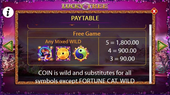 Free Game Wild Symbols Paytable