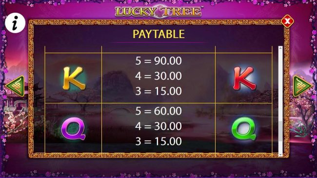 Free Games - Low value game symbols paytable.