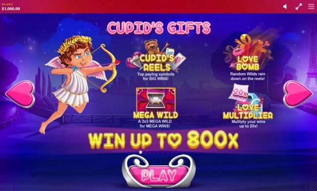 Cupids Gifts - Cupids Reels, Love Bomb, Mega Wild and Love Multiplier. Win up to 800x.