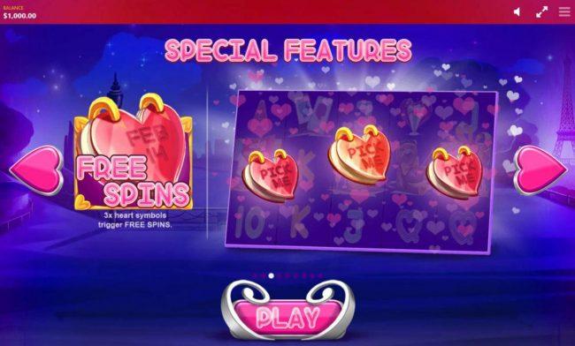 Three heart symbols trigger Free Spins.