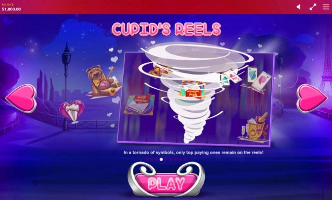 Cupids Reels - In a tornado of symbols, only top paying ones remain on the reels.