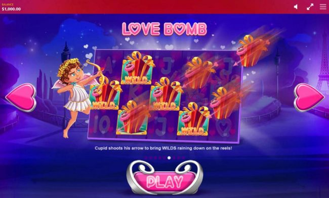 Love Bomb - Cupid shoots his arrow to bring wilds raining down on the reels.