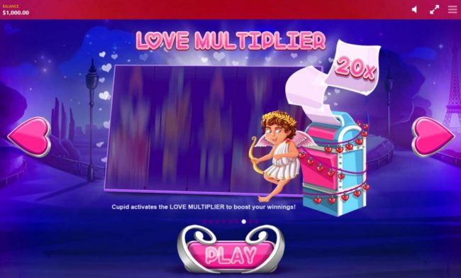 Love Multiplier - Cupid activates the Love Multiplier to boost your winnings.