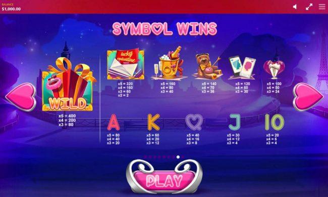 Slot game symbols paytable.