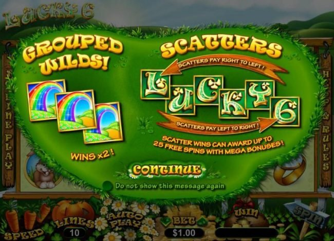 Play slots at Slotter: Slotter featuring the Video Slots Lucky 6 with a maximum payout of $33,000