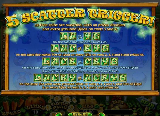 Lucky 6 :: 5 Scatters trigger 12 free spins with all prizes doubled and extra grouped wilds on reels 3 and 4.
