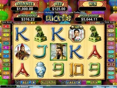 Fair Go featuring the Video Slots Lucky 8 with a maximum payout of $250,000
