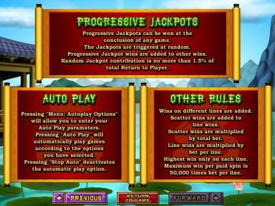 Progressive jackpots, autoplay and other game related rules