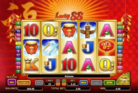 Casino Red Kings featuring the Video Slots Lucky 88 with a maximum payout of $3,552