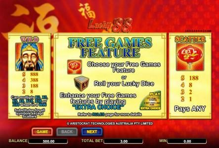 wild, scatter and free games feature rules and paytable