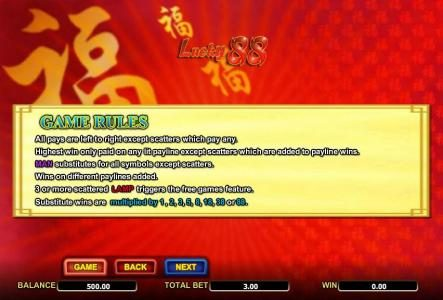 Sun Play featuring the Video Slots Lucky 88 with a maximum payout of $3,552
