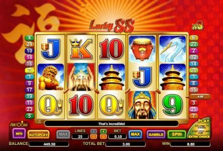 Slots Magic featuring the Video Slots Lucky 88 with a maximum payout of $3,552