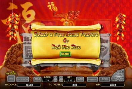 Cheeky Riches featuring the Video Slots Lucky 88 with a maximum payout of $3,552