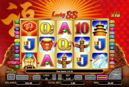 multiple winning paylines triggers a $34 jackpot during the free games feature