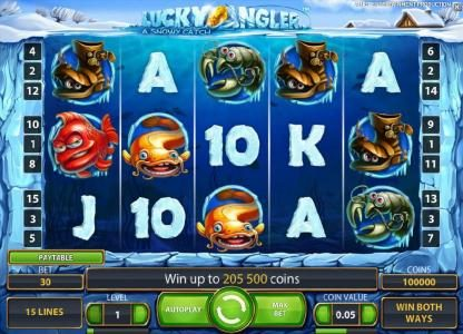 Jackpot Joy featuring the Video Slots Lucky Angler with a maximum payout of $10,000