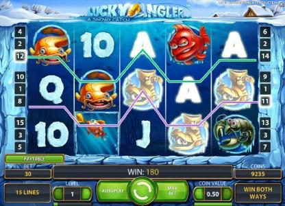 Winzino featuring the Video Slots Lucky Angler with a maximum payout of $10,000