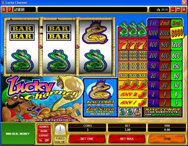 Play slots at CasinoUK: CasinoUK featuring the Video Slots Lucky Charmer with a maximum payout of $15,000