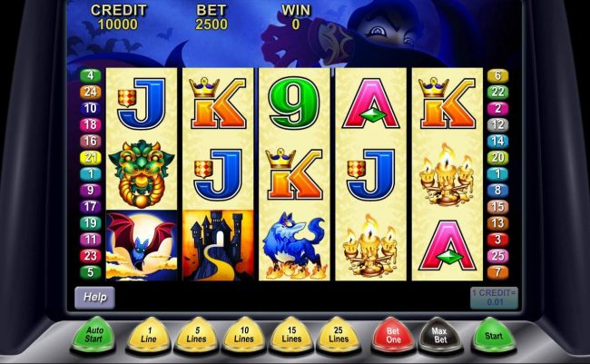 Main game board featuring five reels and 25 paylines with a $500,000 max payout