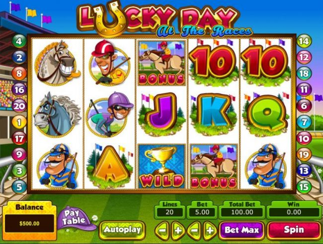 Play slots at Slots Village: Slots Village featuring the Video Slots Lucky Day at the Races with a maximum payout of $50,000